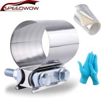 """SPEEDWOW 2.5"""" Exhaust Clamp Band Clamp Sleeve With Heat Wrap Tape Glove Stainless Steel"""