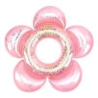 HeySplash Inflatable Swim Rings with Glitter, Flower Shaped Summer Swimming Pool Float Loungers Tube, Water Fun Beach Party Toys for Kids - Rose Gold