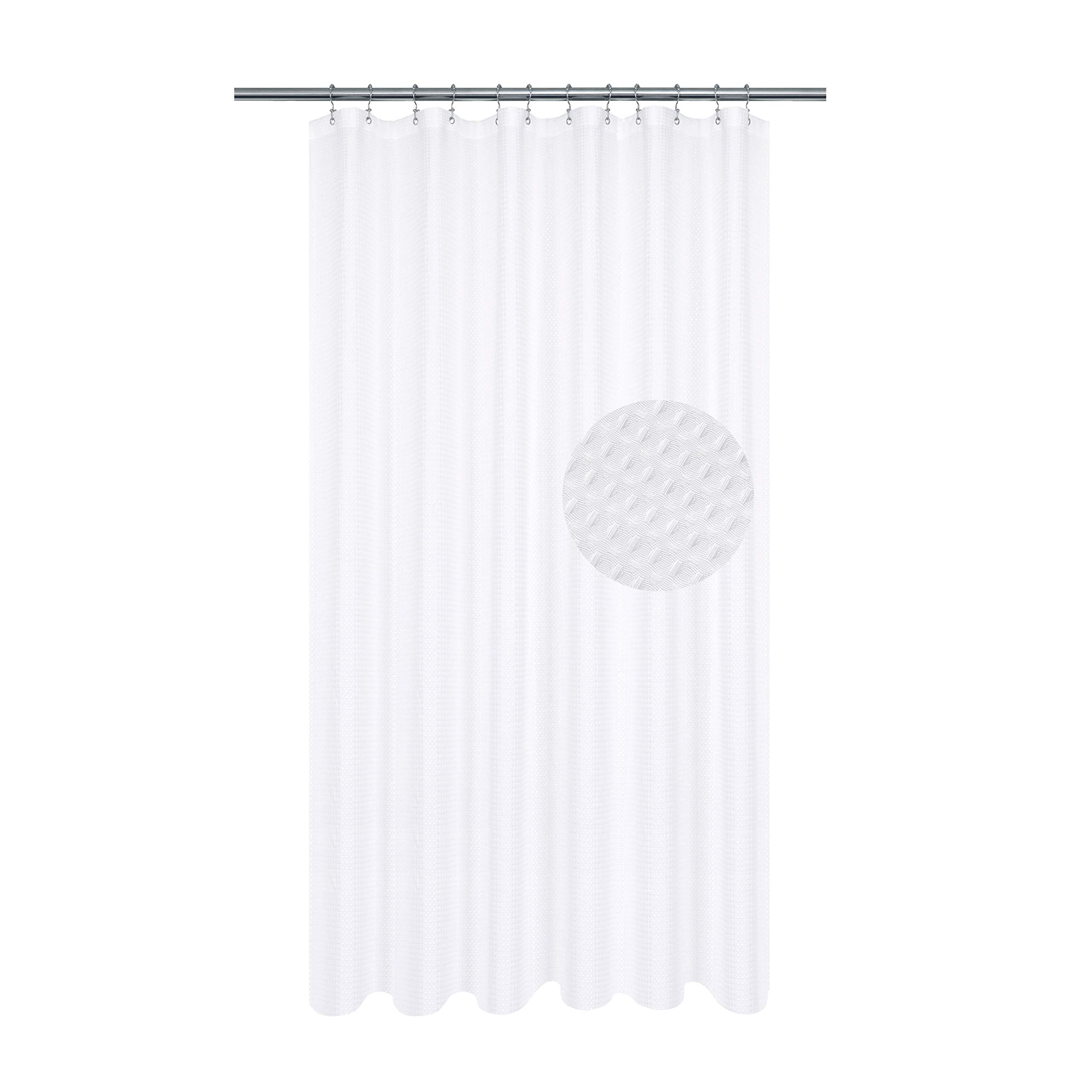Long Shower Curtain with 80 inch Height, Fabric, Waffle Weave, Hotel Collection, Water Repellent, Machine Washable, 230 GSM Heavy Duty, White Pique Pattern Decorative Bathroom Curtain