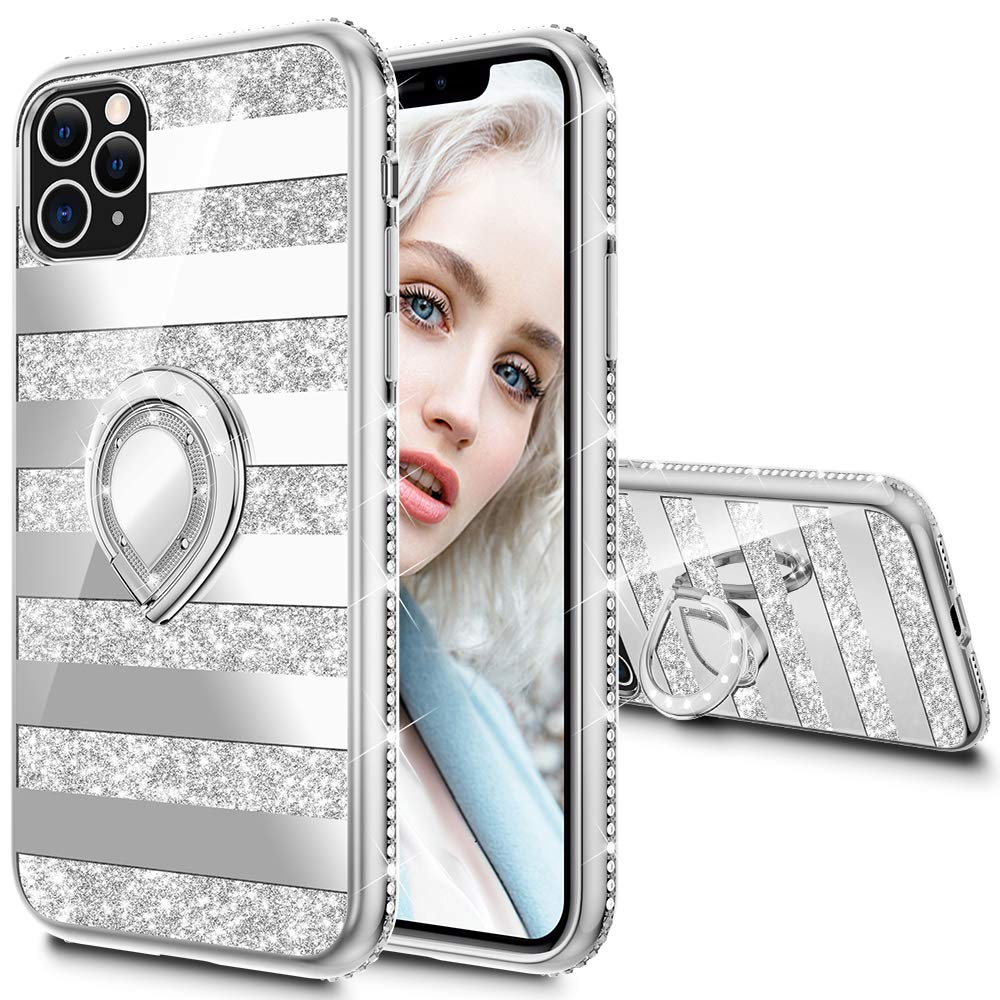 Maxdara Case for iPhone 11 Pro Max Case Glitter Ring Kickstand Case for Girls Women with Bling Sparkle Diamond RhinestoneStand Holder Case for iPhone 11 Pro Max 6.5 inches (Stripe Silver)