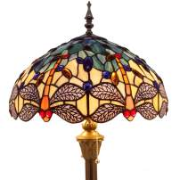 Tiffany Floor Lamp Standing Light W16 H64 Inch Green Yellow Dragonfly lampshade 2 Light Antique Base for Bedroom Living Room Reading Lighting Table S128 WERFACTORY