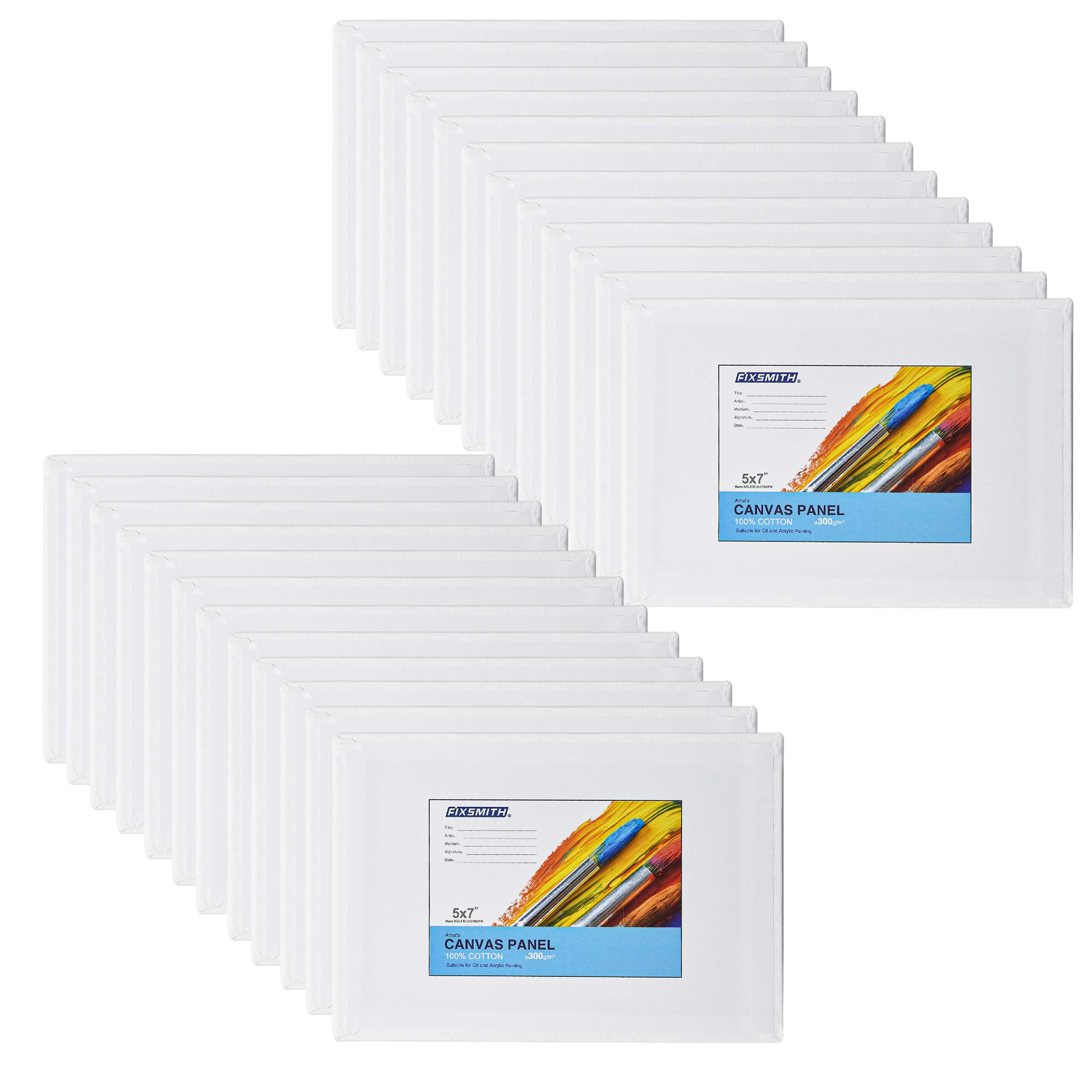 FIXSMITH Painting Canvas Panel Boards - 5x7 Inch Art Canvas,24 Pack Mini Canvases,Primed Canvas Panels,100% Cotton,Acid Free,Professional Quality Artist Canvas Board for Hobby Painters,Students & Kids