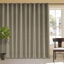 """cololeaf Extra Wide Curtain Panels 150"""" W x 96"""" L Linen Drapes with Blackout Lining, Grommet Top Linen Curtains for Living Room Meetingroom Theater Patio, Dim Grey (1 Panel)"""