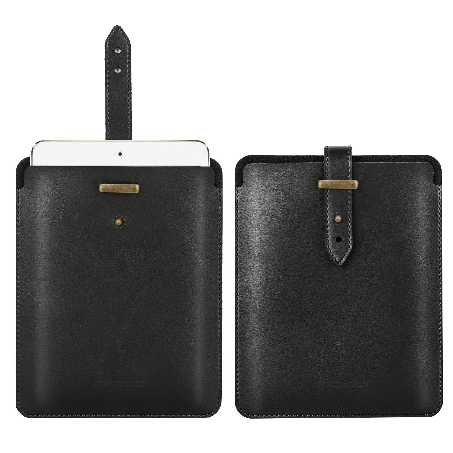 MoKo 7.9 Inch Sleeve Case Compatible with iPad Mini 4/3 / 2/1, New iPad Mini 5 2019 (5th Generation 7.9 inch), PU Leather Protective Lightweight Portable Pouch Cover Bag - Black