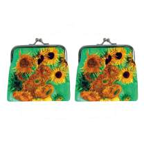 JESMART Pack of 2 change purse coin purse VAN GOGH The Starry Night, DIY sublimation printing, picture custom made designer bag (Green Sunflowers)