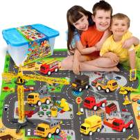 """Construction Vehicles Toys with Play Mat, 8 Construction Cars and Crane, 6 Road Signs and 27.5"""" x 31.5"""" Playmat, Friction Powered Cars Play Sets, Toy Trucks, Toy Gift for Boys, Girls, Kids & Children"""