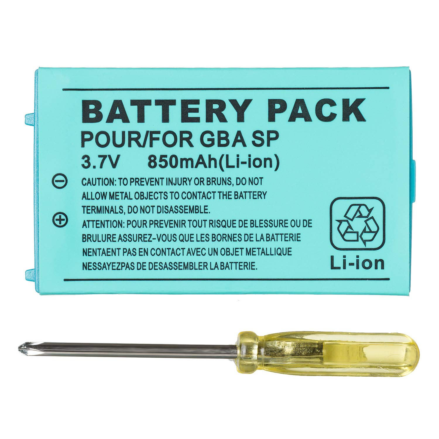 OSTENT 850mAh Rechargeable Lithium-ion Battery + Tool Pack Kit Compatible for Nintendo GBA SP