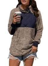 Sidefeel Women Button Neck Fleece Pullover Coat Asymmetrical Sweatshirts Outwear