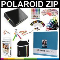 Polaroid Zip Mobile Printer Gift Bundle + Zink Paper (30 Sheets) + 8x8 Cloth Scrapbook + Pouch + 6 Edged Scissors + 100 Sticker Border Frames + Color Gel Pens + Hanging Frames + Accessories