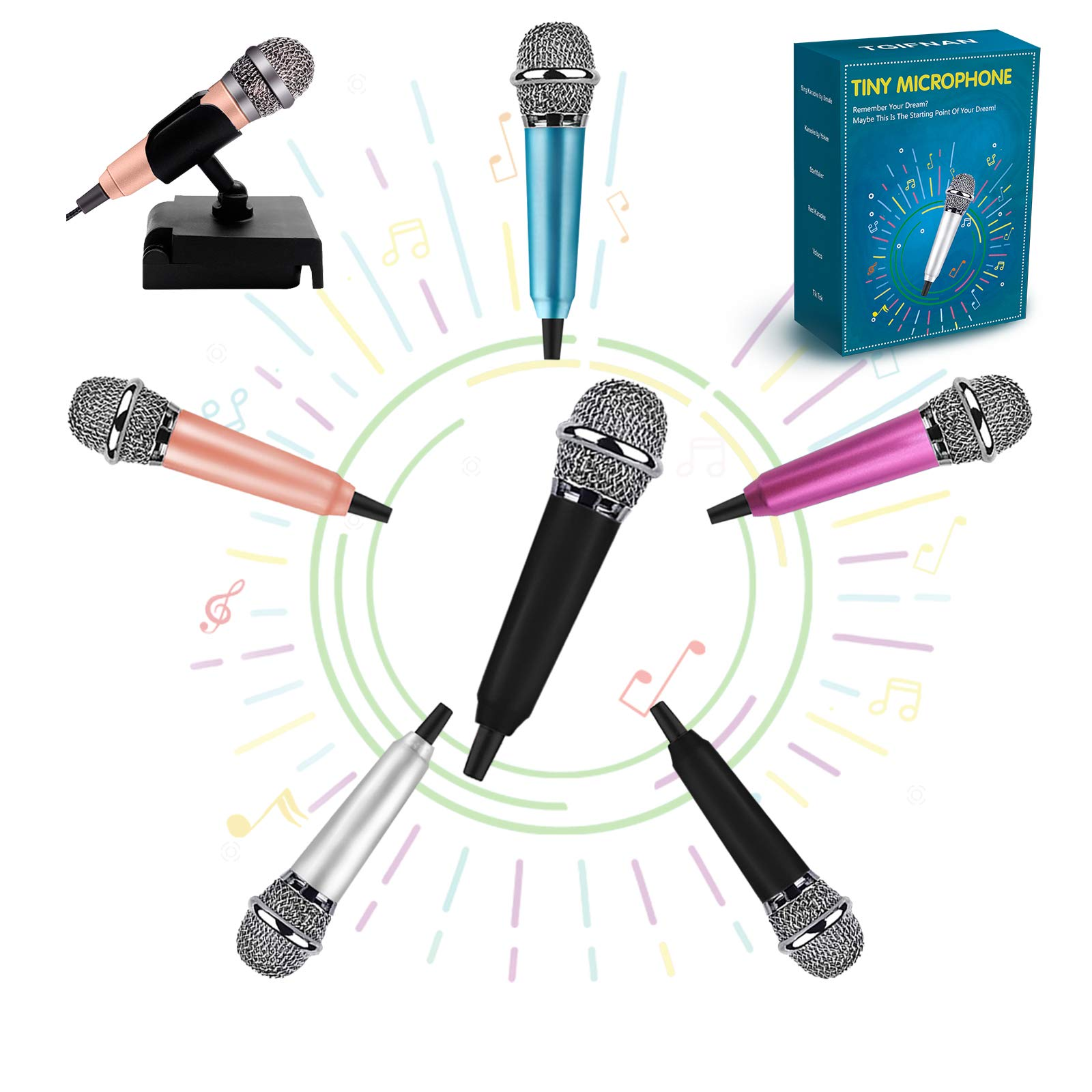Mini Microphone Karaoke Microphone Tiny Microphone,Mini Microphone for Singing, Recording and Listening to Songs,Mic for iPhone/Android/PC (Black)