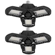 2Pack LED Garage Lights, 6000 Lumens Deformable Garage Light, 60W Ultra-Bright Trilight Lamp Set with 3 Adjustable Aluminum Panels, CRI 80, 6000K Nature Light for Shop, Garage, Warehouse
