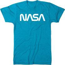 NASA Vintage White Worm Logo Men's Modern Fit Tri-Blend T-Shirt (Vintage Turquoise, Small)