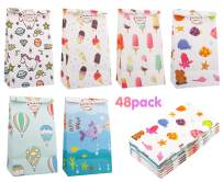 Zooawa [48PACK] Cartoon Party Favor Bags - White Craft Paper Gift Bags, Goodie Candy Treat Bags with Thank You Stickers for Wedding Birthday Baby Shower Tea Party Décor - Colorful