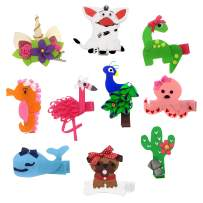 Assorted Animal Ribbon Hair Bows Clips for Little Girls Baby Toddlers Kids 10PCS