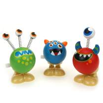 LITTLE BESSN Wooden Wind-up Jumping Monsters Toy, Perfect for Easter Basket Stuffers, Easter Egg Fillers, Kid's Gifts, Goodies Bag (3pcs)