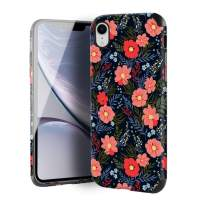 CUSTYPE Case for iPhone XR, iPhone XR Case Floral for Girls & Women, Floral Series Autumn Flower Prints Pattern Design PC Leather with TPU Bumper Slim Protective Cover for iPhone XR 6.1''
