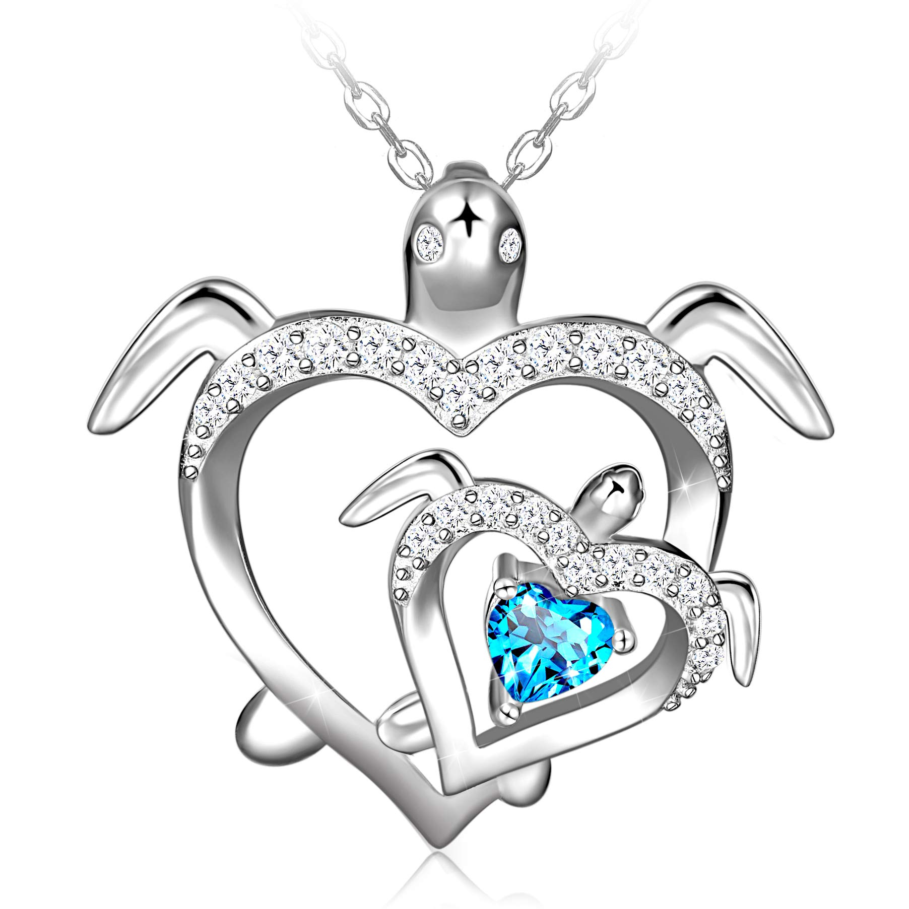 Distance Health and Longevity Mom and Baby Sea Turtle Pendant Necklace for Women 925 Sterling Silver Love Heart Jewelry Valentine's Gifts for Daughter Girls Mother