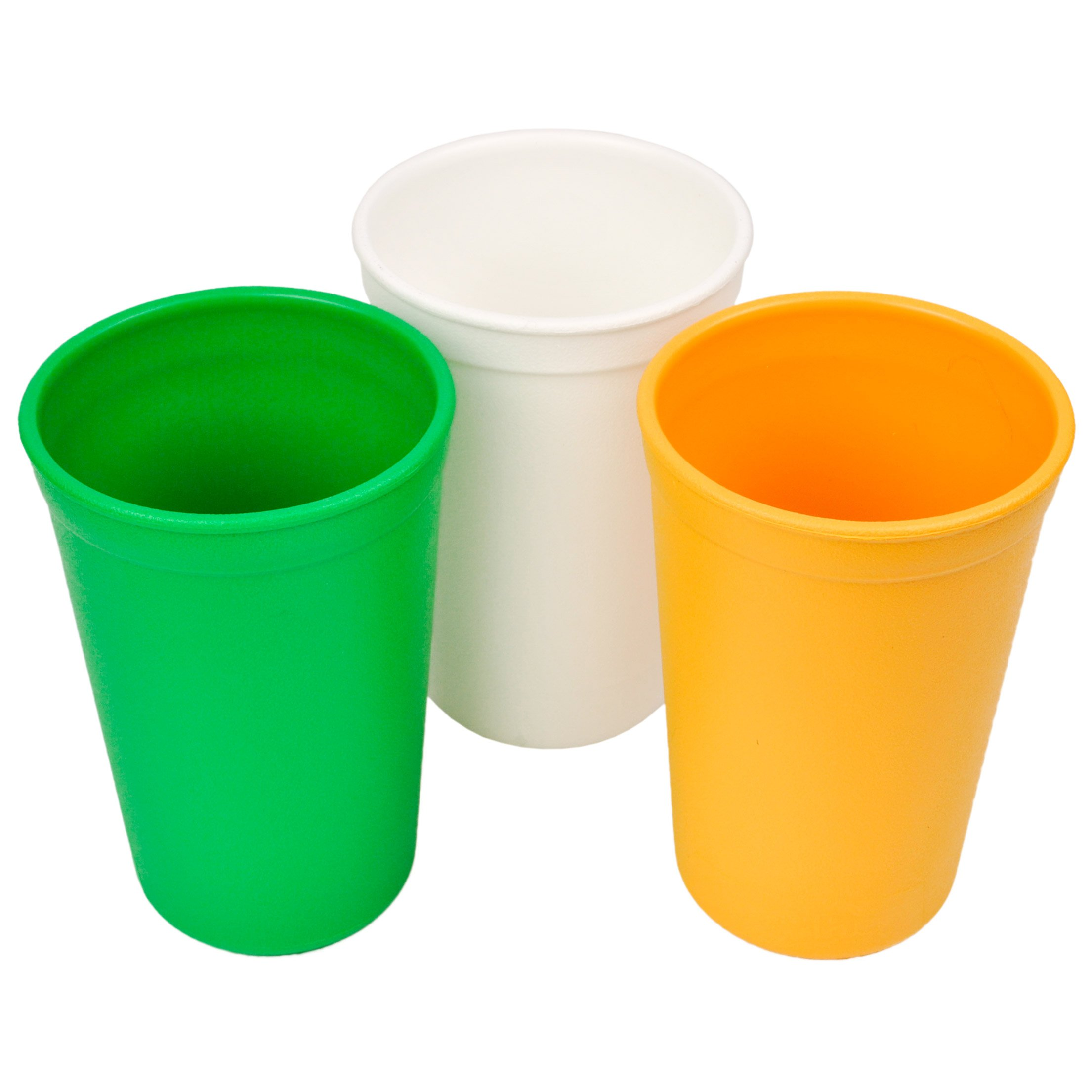 Re-Play 3pk - 9oz. Drinking Cups   Made in USA from Eco Friendly Heavyweight Recycled Milk Jugs - Virtually Indestructible   for All Ages   Kelly Green, White, Sunny Yellow   St. Patrick's Day