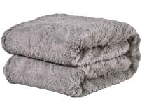 """PHF Faux Fur Throw Blanket 50"""" x 60"""" Plush Home Decoration Soft Warm Fuzzy Luxurious Cozy Heavyweight for Winter Bed Couch Chair Sofa Grey"""