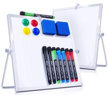"""Dry Erase White Board- 2 Pack 10""""X10"""" Small Magnetic Whiteboard with Stand- 8 Markers/4 Magnets/2 Erasers- Desktop Double-Sided Mini White Board Easel for Kids/Drawing/Memo/Wall/Desk/Hanging/School"""