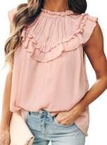 Diukia Women's Summer Cute Ruffle Tank Tops Flowy Chiffon Lined Sleeveless Shirts Blouses