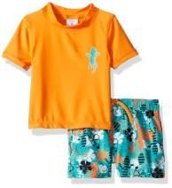 KIKO & MAX Boys' Swimsuit Set with Short Sleeve Rashguard Swim Shirt