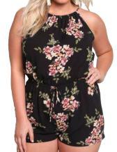 MAXIMGR Womens Plus Size Sleeveless Bohemian Floral Print Backless Romper Short Summer Beach Jumpsuit