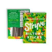 Stryve Biltong, Beef Biltong Sticks. 14g Protein, Sugar Free, No Carbs, Gluten Free, No Nitrates, No MSG, No Preservatives. Keto and Paleo Friendly. Hatch Green Chile, 2.5oz 2-Pack