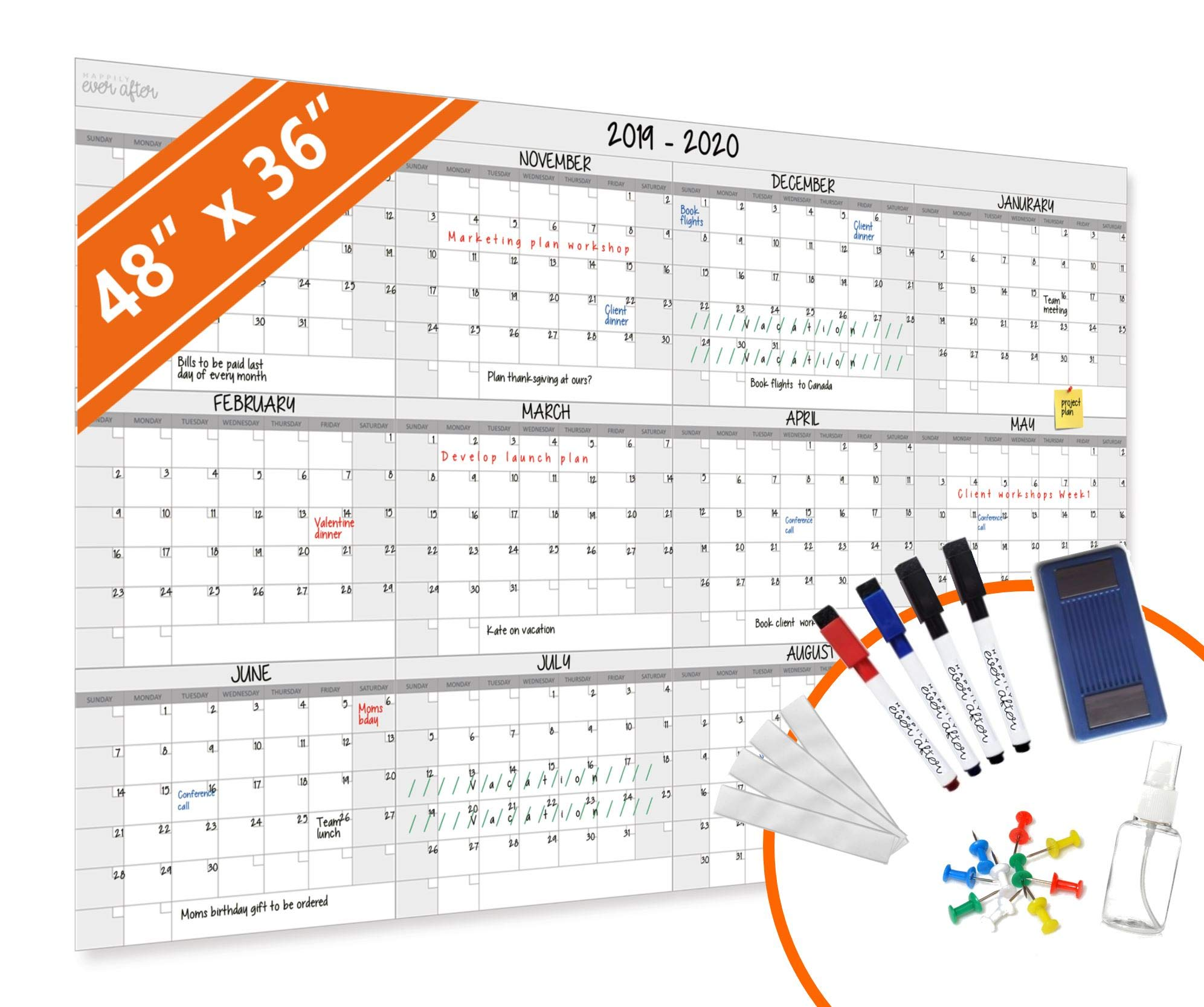 HEA Large Dry Erase Year Wall Calendar   Premium New Laminate   Blank Undated, Reusable & Erasable 12 Month 2020 Annual Planner   Classroom, Fiscal Year, Office, Project Schedule (48'' x 36'')