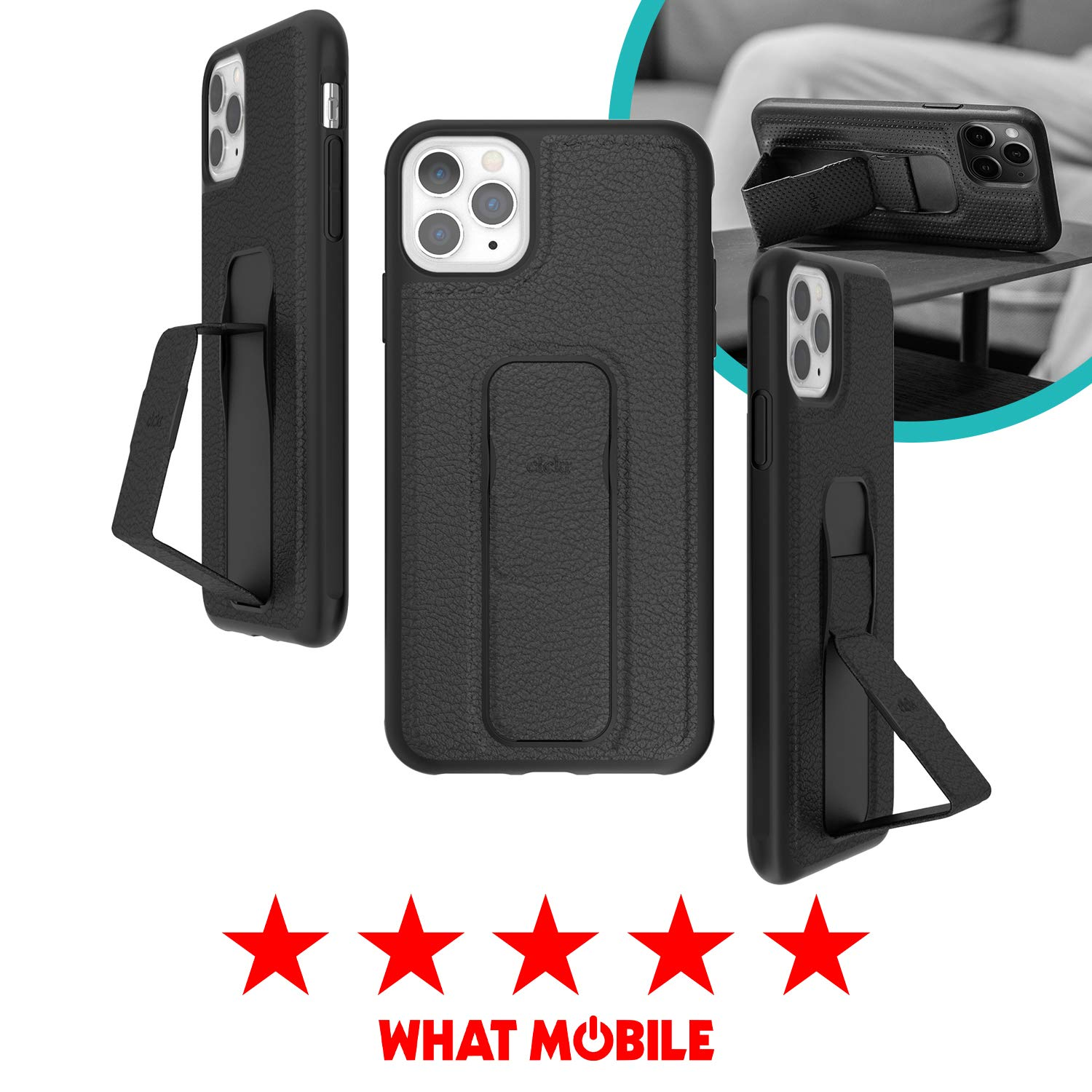CLCKR iPhone 11 Pro Max Case Cover with Stand for Viewing and Grip - Black Faux Leather