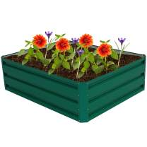 "Giantex Dark Green Patio Raised Garden Bed Vegetable Flower Planter with Metal Frame (39.5"" Lx31.5 Wx12.0 H)"