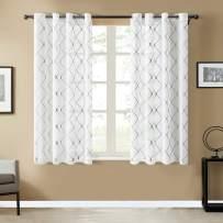 Top Finel White Short Sheer Curtains 54 Inch Length Grey Embroidered Diamond Grommet Window Curtains for Living Room Bedroom, 2 Panels