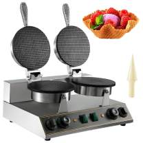 VBENLEM 110V Electric Ice Cream Cone Waffle Maker Machine 1200W2 Stainless Steel Nonstick Temperature and Time Control Electric Waffle Cone Machine Suitable for Restaurant Bakeries Snack Family