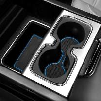 Auovo 31pcs Anti-dust Mats for Chevrolet/Chevy Silverado 1500/GMC Sierra 1500 2014-2018 Car Cup Holder Inserts,Center Console Liner,Door Pocket Liner Mat Interior (Bucket Seats & Crew Cab, Blue Trim)