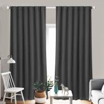 """ZHUFUREN Dark Gray Blackout Window Curtain Panel Pairs 84"""" for Bed Room Darkening and Thermal Insulation Soft Window Treatment Drapes Rod Pocket with Backtabs, 2 Tie Backs (2 Pk, 52x84 Inch,Charcoal)"""