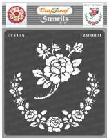 CrafTreat Flower Stencils for Painting on Wood, Canvas, Paper, Fabric, Floor, Wall and Tile - Rose Parade - 6x6 Inches - Reusable DIY Art and Craft Stencils for Painting Flowers