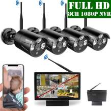 【2020 Update】 10 inch Screen HD 1080P 8-Channel Outdoor Wireless Security Camera System,4pcs 1080P Wireless IP67 Weatherproof IP Cameras,70FT Night Vision,P2P,App, NO Hard Drive