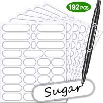 Labels for Jars 192Pcs Removable Labels Stickers Waterproof Self Adhesive Kitchen Labels with Gold Border, 4 Sizes to Match Your Needs with No Residue,Great for Jam & Chutney Preserving Jars (Silver)
