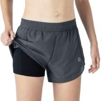 """Naviskin Women's 4"""" Running Shorts Double Layer Athletic Fitness Shorts 2 in 1 Shorts with Zipper Pockets"""