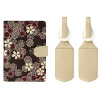 JAVOedge Brown Cherry Blossom Printed Fabric RFID Blocking Passport Case with Pen Holder and 2 Matching Luggage Tags