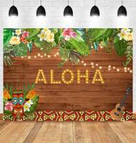 Fanghui 7x5ft Aloha Party Backdrop Summer Tropical Hawaiian Luau Flowers Wooden Sculpture Floral Prom Decoration Background Happy Birthday Baby Shower Banner Supplies Photo Booth Props