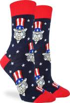 Good Luck Sock Women's Cool Uncle Sam Socks - Blue, Adult Shoe Size 5-9
