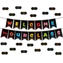 Classroom Decorations Welcome Banner, Welcome Bulletin Board Banner Welcome Chalkboard Brights Pennants with 50 Dry Eraser Multi-Purpose Cards and 80 Glue Point Dot (Welcome to Our Class)