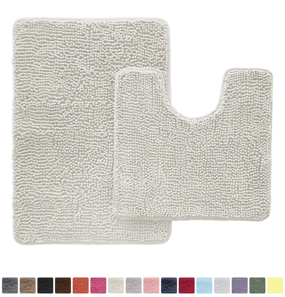 Gorilla Grip Original Shaggy Chenille 2 Piece Area Rug Set Includes Oval U-Shape Contoured Mat for Toilet and 30x20 Bathroom Rug, Machine Wash Dry, Plush Mats for Tub, Shower and Bathroom, Ivory Cream