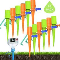 15 Pack Plant Self Watering Spikes Bulbs Globes Stakes System,Vacation Plant Waterer Nannies Pot Self Drip Irrigation Slow Release Devices Care Your Indoor & Outdoor Home and Office Plants