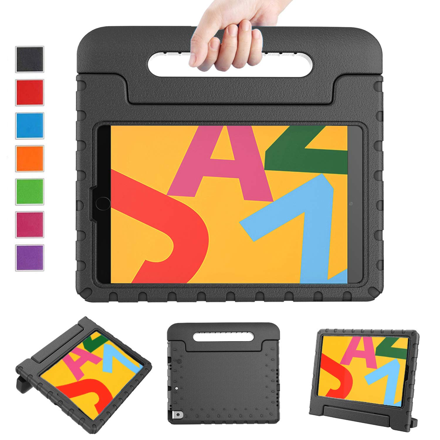 LTROP Case for iPad 10.2 2019, iPad 7th Generation Case for Kids - Light Weight Shock Proof Handle Stand Kids Case for Apple iPad 7 10.2-inch 2019 Latest Model and Air 3, Black