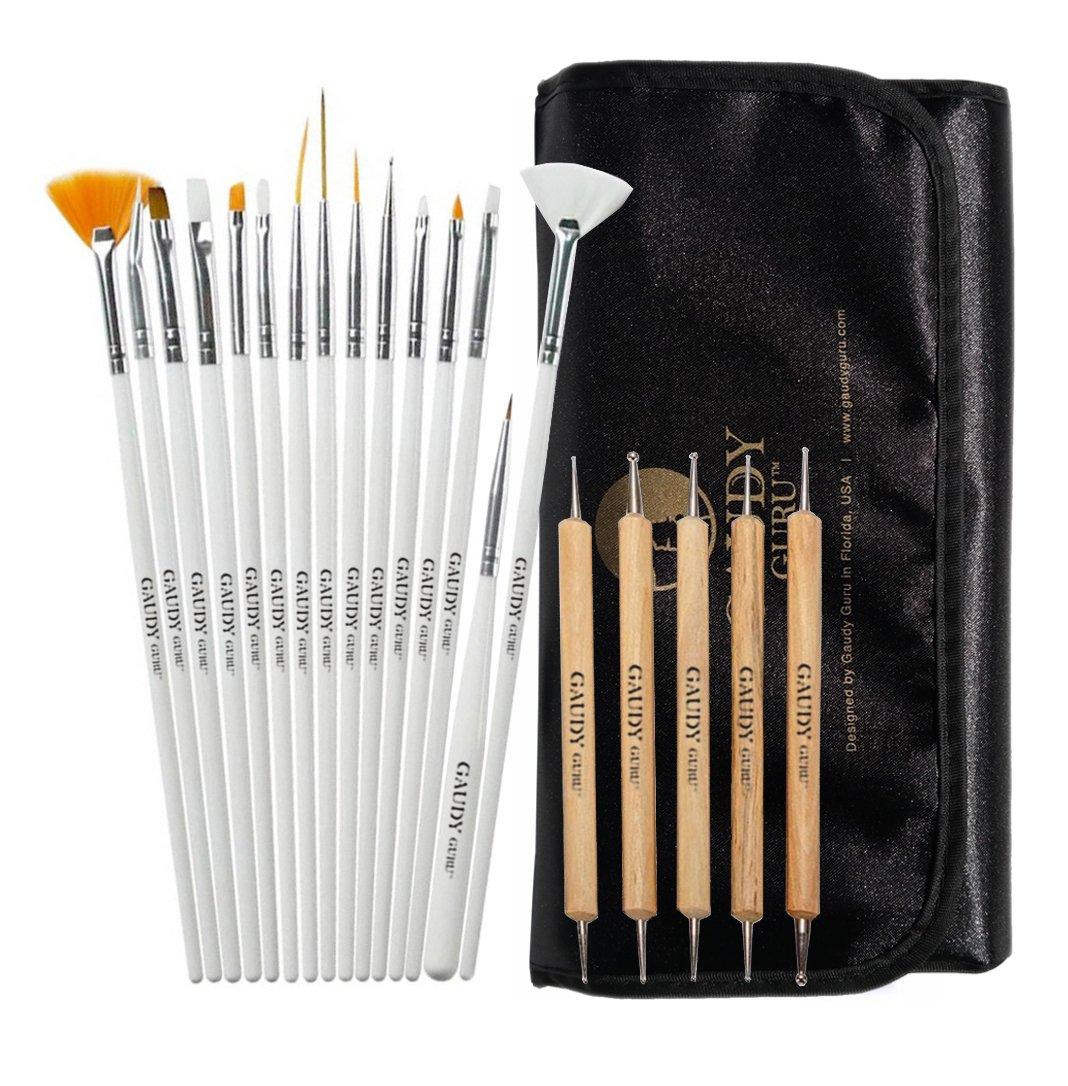 20pc Professional Nail Art Design Painting Detailing, Marbleizing Brushes, Striper & Dotting Pen/Dotter Tool Kit Set with Storage Bag by Gaudy Guru