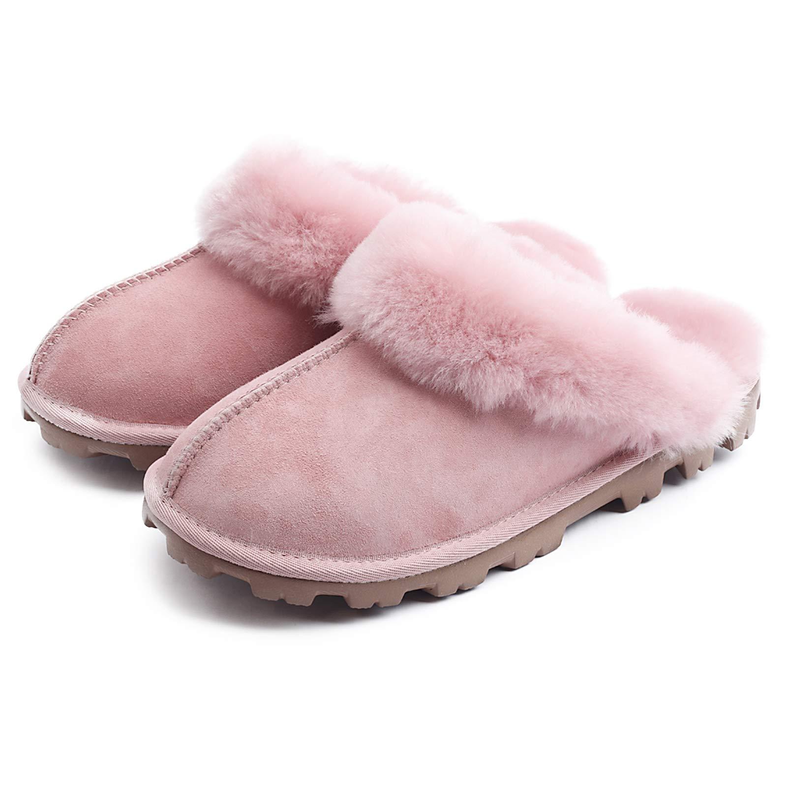 WaySoft Genuine Australian Sheepskin Women Slippers, Water-Resistant Warm and Fluffy Outdoor House Slippers for Women