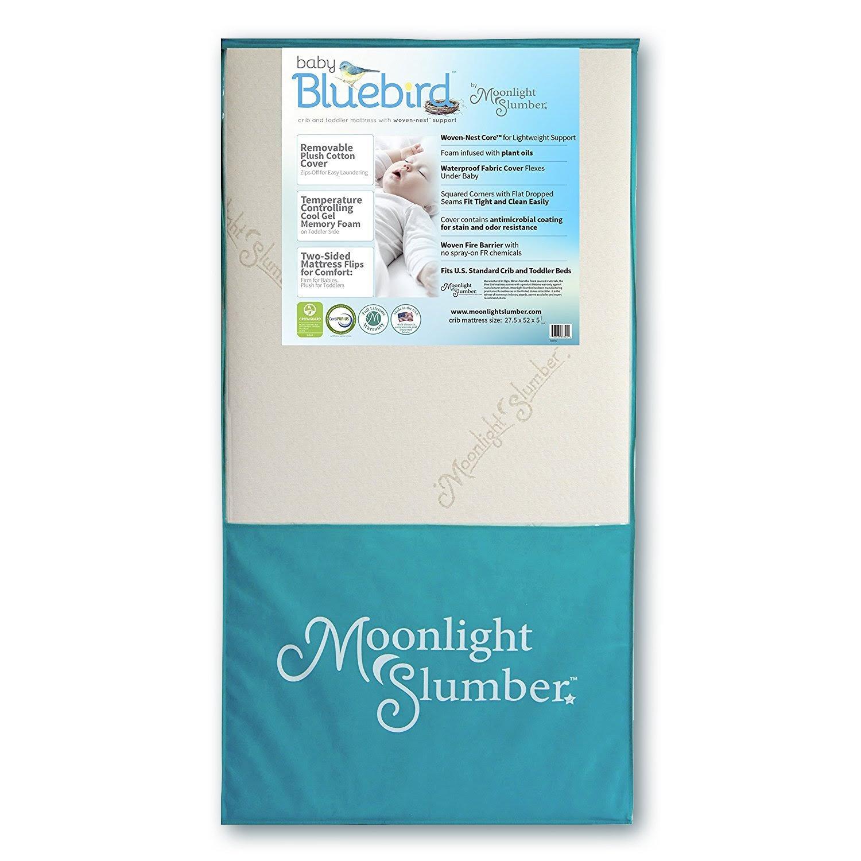 Moonlight Slumber Cooling Memory Foam Crib Mattress Baby Bluebird Air Flow Core Waterproof Dual Sided Toddler Mattress + Plush Cotton Mattress Pad Cover Made in The USA