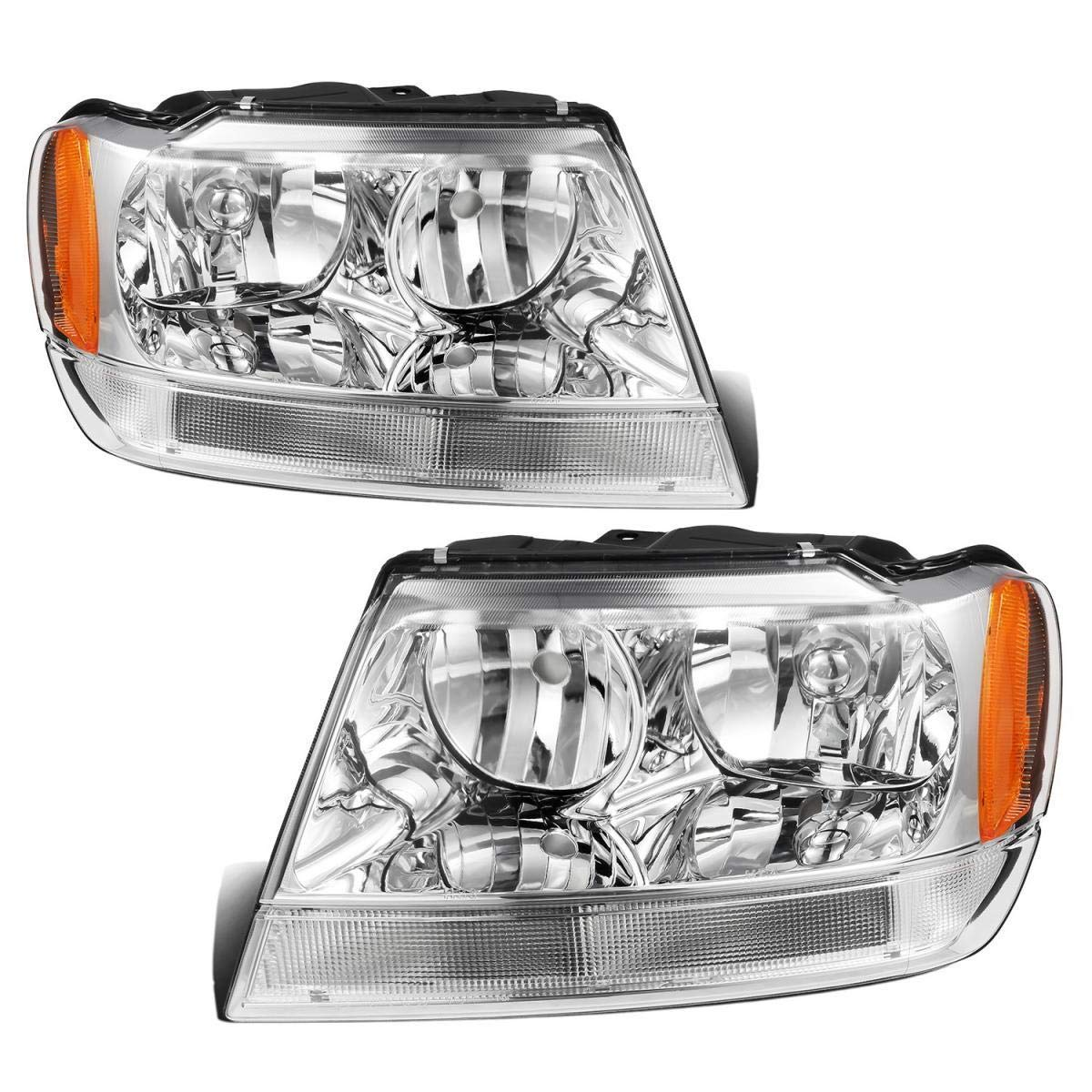 Partsam Headlight Assembly Compatible with Jeep Grand Cherokee 1999 2000 2001 2002 2003 2004 Side Left Right Replacement Headlamp Chrome Housing Amber Corner Reflector (Driver and Passenger Side)